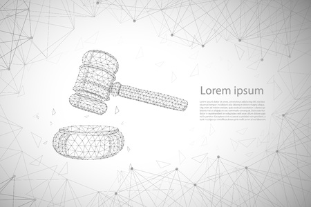 Law concept with polygonal gavel judge vector illustration Illustration