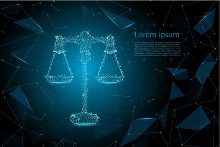 Law concept with polygonal scale vector illustration Vektorové ilustrace