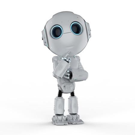 Representación 3D lindo robot de inteligencia artificial pensar o analizar