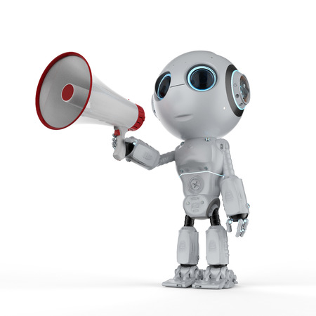 3d rendering cute artificial intelligence robot hold megaphone