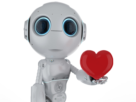 3d rendering cute artificial intelligence robot with red heart