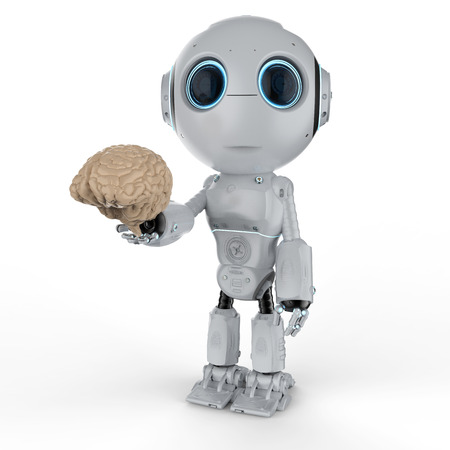 3d rendering cute artificial intelligence robot with brain