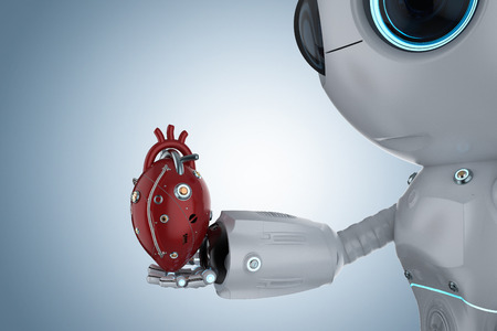3d rendering cute artificial intelligence robot with red robotic heart
