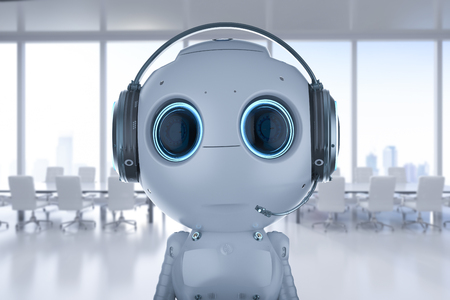 3d rendering mini robot wear headset in office