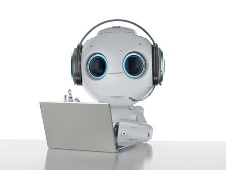 Mini robot de rendu 3D travaillant avec un casque et un ordinateur portable Banque d'images