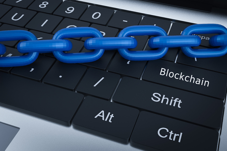 Blockchain Technology concept with 3d rendering blue chain on computer