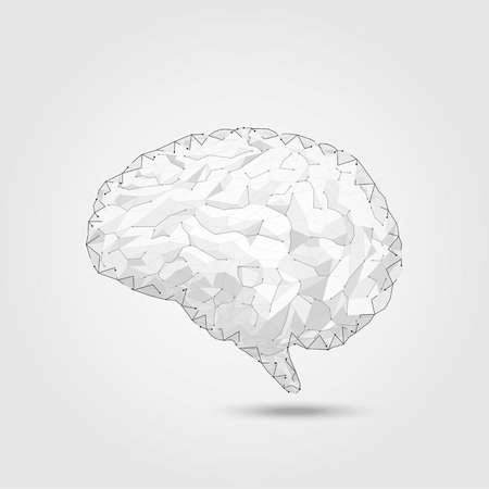 AI brain concept with polygonal brain vector illustration