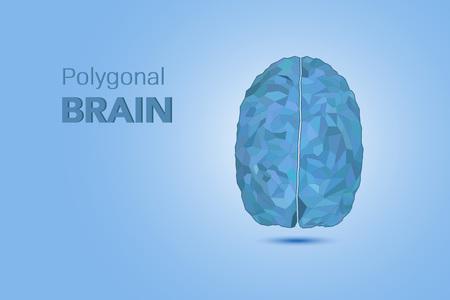AI brain concept with blue polygonal brain vector illustration 일러스트