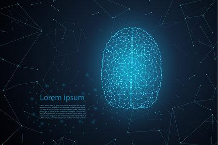 AI brain concept with polygonal brain with shining light vector illustration 일러스트