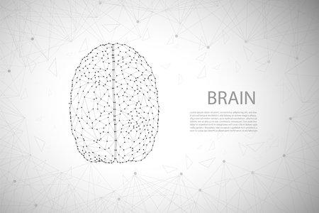 AI brain concept with polygonal brain vector illustration