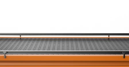3d rendering empty conveyor line on white background Standard-Bild