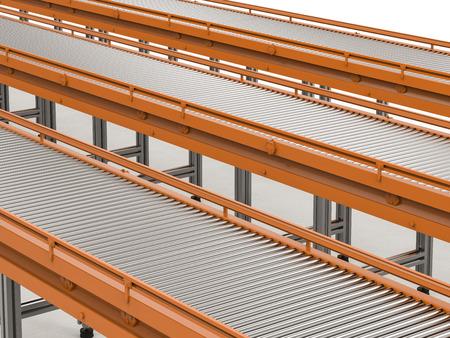 3d rendering empty conveyor line on white background Stock Photo