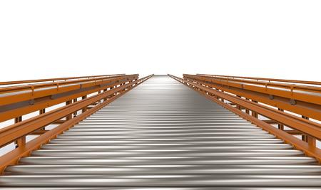 3d rendering empty conveyor line on white background 스톡 콘텐츠