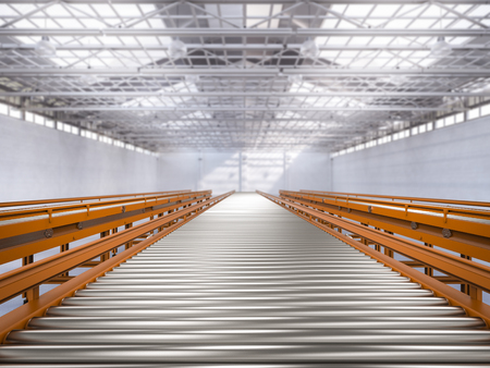 3d rendering empty conveyor line in factory