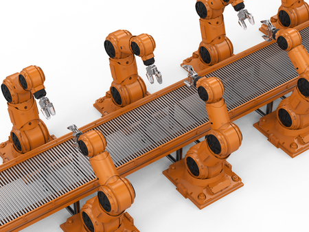 Automation industry concept with 3d rendering robot assembly line in  factory Stock Photo