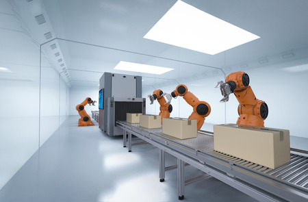 Automation industry concept with 3d rendering robot assembly line in  factory Foto de archivo