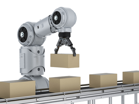 Automation industry concept with 3d rendering robot arm with cardboard boxes on conveyor belt
