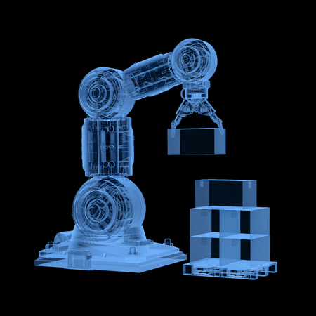 3d rendering x-ray robotic arm with cardboard boxes on black background