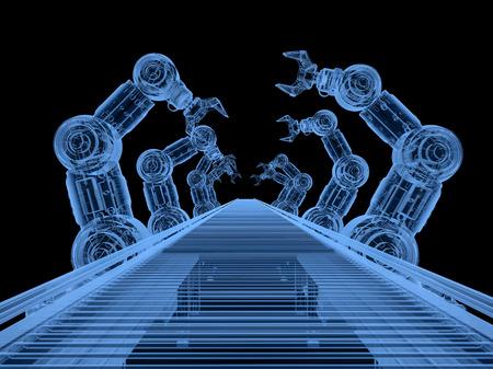 3D-Rendering-Röntgenroboter-Montagelinie mit Förderband auf schwarzem Hintergrund Standard-Bild