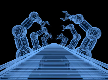 3d rendering x-ray robot assembly line with conveyor belt on black background