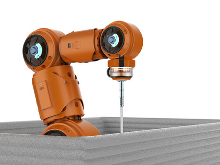 Construction technology concept with 3d rendering robot welder build house