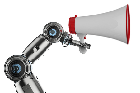 3d rendering robot hand holding megaphone on white background