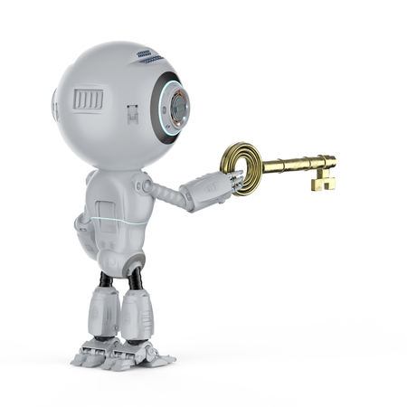 Online security concept with 3d rendering mini robot hold key
