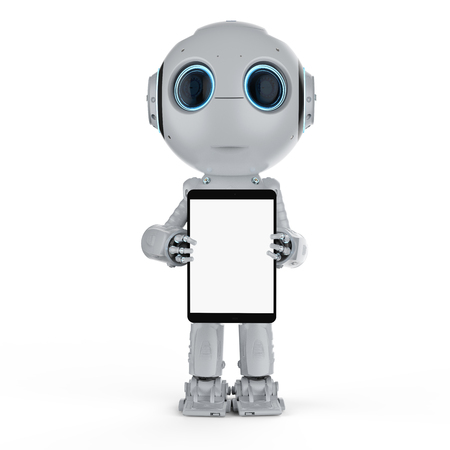 3d rendering mini robot with blank screen digital tablet 写真素材 - 111418976