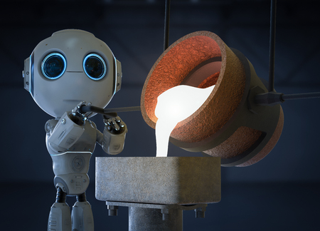 Automatic industry concept with 3d rendering mini robot with molten metal pouring into mould