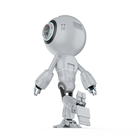 3d rendering mini robot walk or step out on white background Banque d'images - 111419147