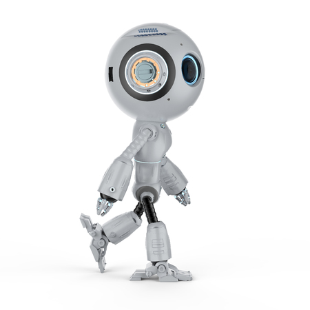 3d rendering mini robot walk or step out on white background Banque d'images - 111419151
