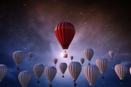 Leadership concept with 3d rendering red hot air balloon above white balloons