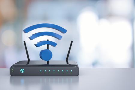 3D-Rendering-Router mit blauem WLAN-Zeichen Standard-Bild