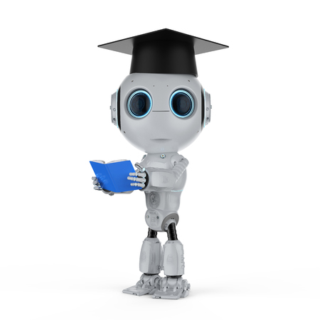 Machine learning concept with 3d rendering robot wear graduation cap