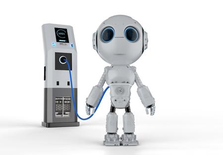 Carga de robot de renderizado 3D con estación de carga eléctrica Foto de archivo