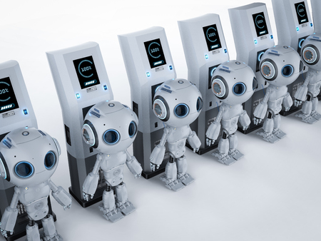 3d rendering robot charge with electric charging station