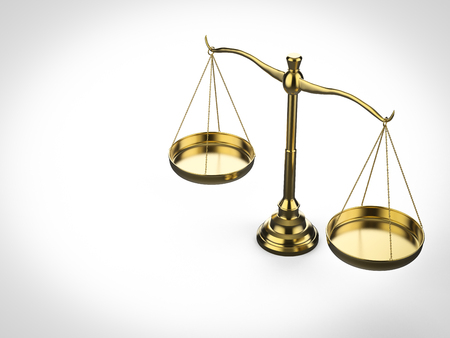 Law concept with 3d rendering law scale on white background