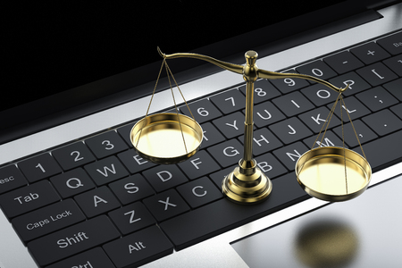 Cyber law or internet law concept with 3d rendering law scale with computer notebook