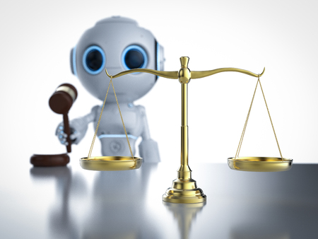 Cyber law or internet law concept with 3d rendering ai robot with law scale and gavel judge 版權商用圖片 - 116031953