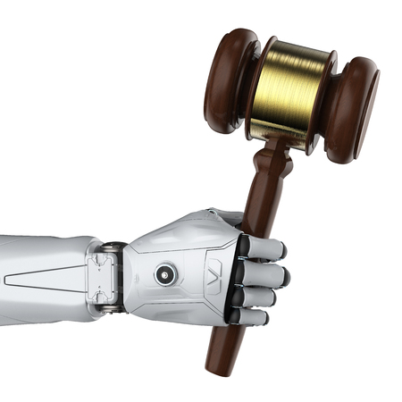 Cyber law or internet law concept with 3d rendering ai robot with gavel judge Archivio Fotografico - 116031955