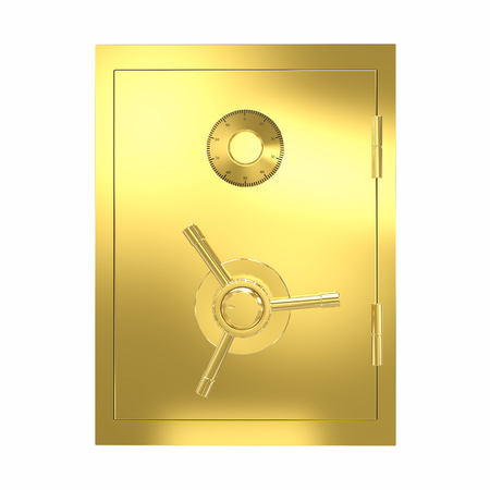 3d rendering golden bank safe isolated on white Stok Fotoğraf