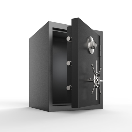 3d rendering bank safe or bank vault open Stok Fotoğraf