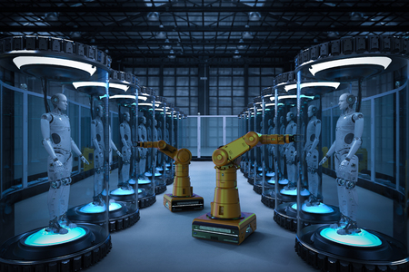 Robot production line with 3d rendering robots in glass capsules