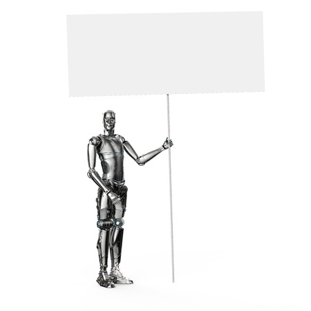 3d rendering humanoid robot with white blank banner Stock Photo