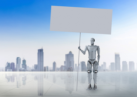 3d rendering humanoid robot with white blank banner Фото со стока