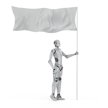3d rendering robot hold white flag with pole Фото со стока