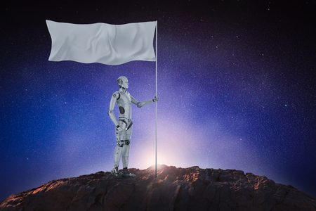 3d rendering robot hold white flag with pole Imagens