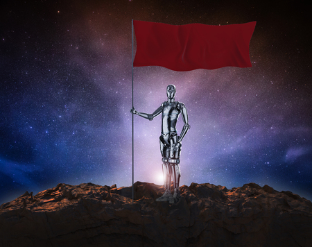 Leadership concept with 3d rendering humanoid robot with red flag