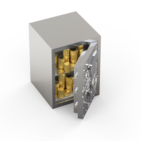 3d rendering metallic bank safe or steel safe with bullion Stok Fotoğraf