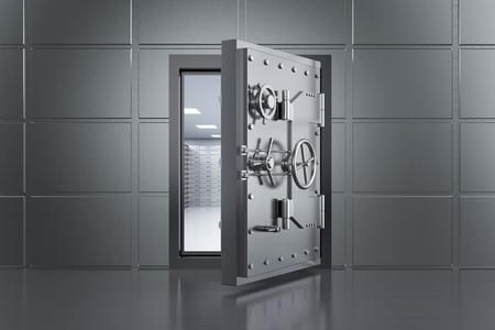 3d rendering metallic bank safe or steel safe open